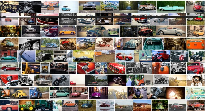 4 Colorful vintage cars